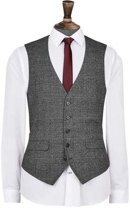 Dorothy Perkins Womens **Burton Grey And Camel Highlight Skinny Fit Check Suit Waistcoat, Grey