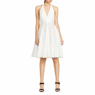 Halston Women's Sleeveless V-Neck Flared Skirt Jacquard Dress