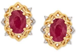 Macy's Certified Ruby (2 ct. t.w.) and Diamond (1/20 ct. t.w.) Stud Earrings in 14k Gold