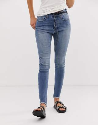 One Teaspoon Bite Me embroidered slogan skinny jeans-Blue