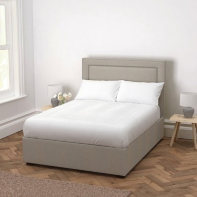 The White Company Cavendish Wool Bed - Headboard Height 154cm, Light Grey Wool, Emperor