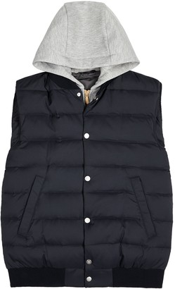 Eleventy Navy quilted shell and jersey gilet