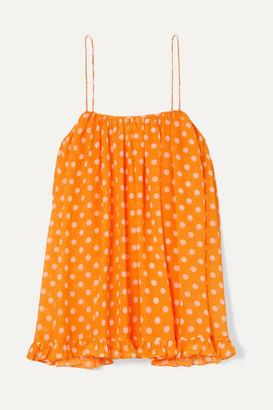 Caroline Constas Ruffled Polka-dot Chiffon Camisole - Orange