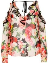 River Island Womens Pink floral cold shoulder blouse