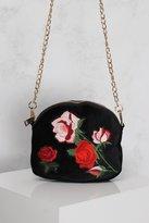 Rare Black Multi Floral Embroidered Velvet Bag