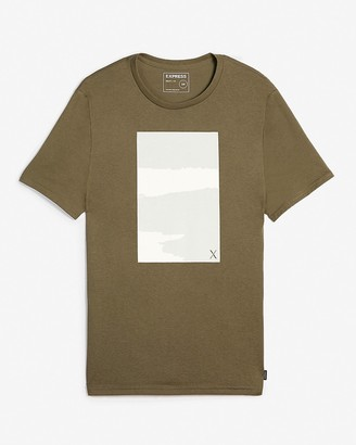 Express Olive Textured Graphic T-Shirt