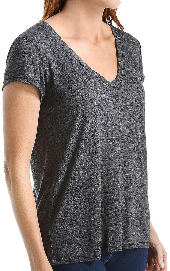Michael Stars Women's Brooklyn Short Sleeve Vee Neck with Center Back Seam