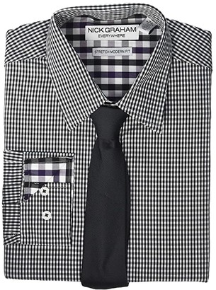 Nick Graham Mini Check Contrast CVC Stretch Dress Shirt Tie Set (Black) Men's Clothing