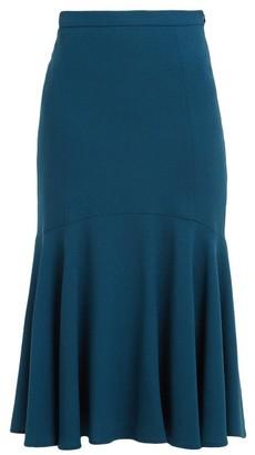 Goat Inga Fluted Wool-crepe Midi Skirt - Womens - Dark Green
