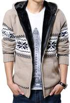 OCHENTA Men's Thicken Long Sleeve Brocade Hooded Cardigan Sweater Tag Size XXL