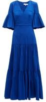 Borgo de Nor Teodora Gathered Cotton-blend Poplin Dress - Womens - Blue