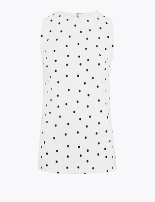 Marks and Spencer Ponte Polka Dot Straight Fit Shell Top