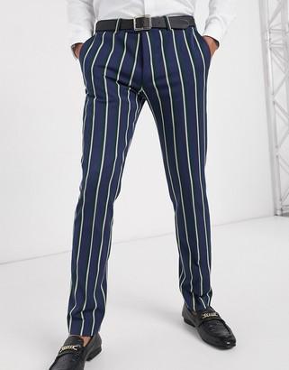 Lockstock Ascot stripe suit pant in navy pinstripe