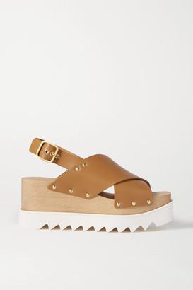 Stella McCartney Studded Faux Leather Platform Sandals - Tan