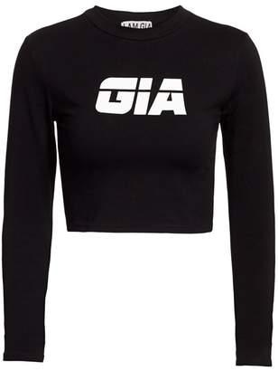 I.AM.GIA Ida Long-Sleeve Logo Crop Top