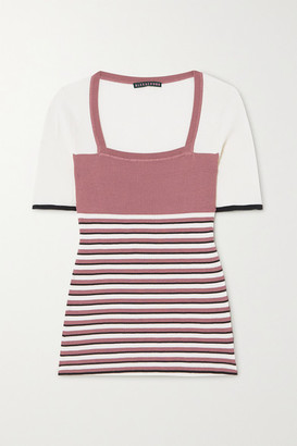 ALEXACHUNG Striped Ribbed Silk And Cotton-blend Top - Pink