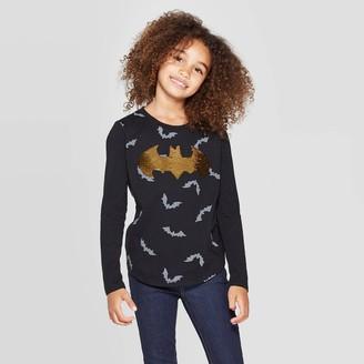 Dc Comics Girls' Batman Halloween Flip Sequin Long Sleeve Graphic T-Shirt -