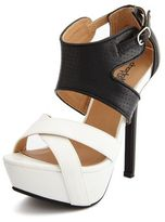 Charlotte Russe Perforated X-Front Platform Pump