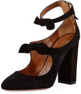 Aquazzura Sandy Suede Block-Heel Bow Pump, Black