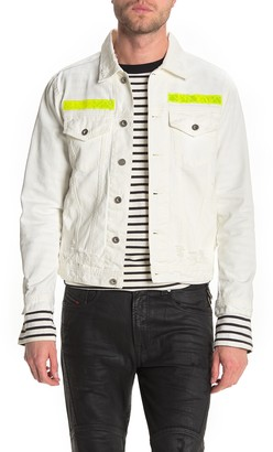Diesel Hill Contrast Stripe Distressed Denim Jacket