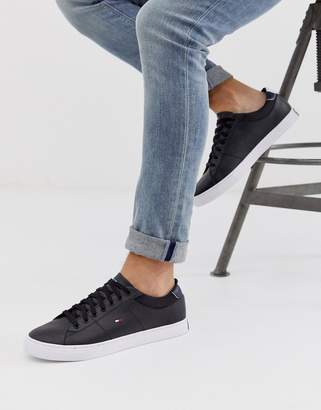Tommy Hilfiger leather trainer in black with flag logo