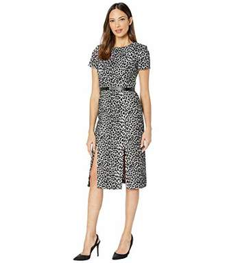 Calvin Klein Women's Short Sleeve Belted Midi Dress with Front Slits