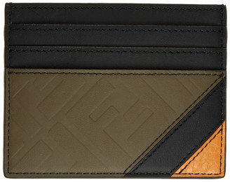 Fendi Black and Brown Leather Forever Card Holder