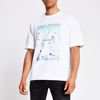 River Island White satin printed front box fit T-shirt