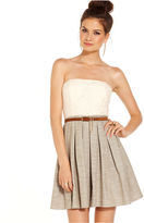 City Studios Juniors Dress, Strapless Lace Pleated Belted A-Line