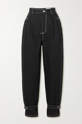Alexander McQueen - Topstitched High-rise Tapered Jeans - Black
