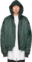 Juun.J Green Hooded Bomber Jacket