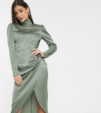 John Zack Tall high neck satin ruched side midi dress in khaki-Green