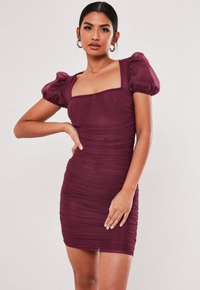 Missguided Plum Mesh Ruched Puff Sleeve Mini Dress