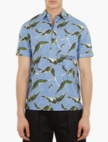 Valentino Blue Albatross Print Short-sleeved Shirt