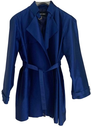 Giorgio Armani Blue Silk Trench Coat for Women