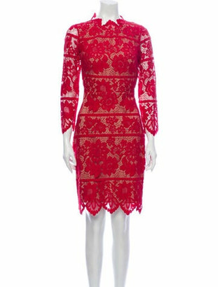 For Love & Lemons Lace Pattern Knee-Length Dress w/ Tags Red