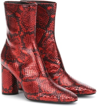 Balenciaga Snake-effect leather ankle boots