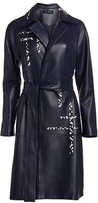 St. John Engineered Lattice Leather Trench Coat