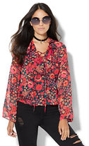 New York & Co. 7th Avenue Design Studio - Ruffled Lace-Up Blouse
