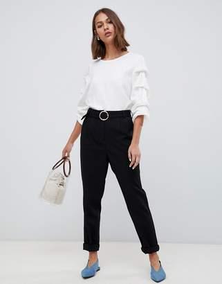 Minimum belt detail peg trouser-Black