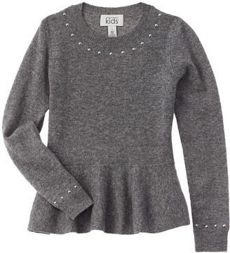 Autumn Cashmere Kids Studded Peplum Wool & Cashmere-Blend Sweater