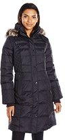 London Fog Women's Down Coat with Quilted Side Panels and Faux Fur Trimmed Removable Hood
