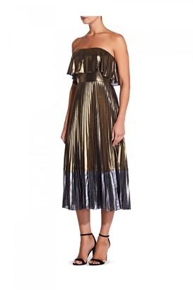 Liquorish Aidan Mattox Metallic Pleated Midi Dress