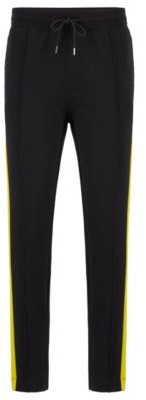 HUGO BOSS Cotton Jogging Pants With Side Stripes And Zipper Detail - Black