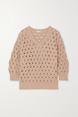 Brunello Cucinelli Cable-knit Cotton-blend Sweater - Beige