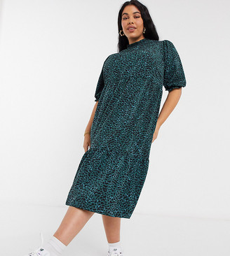 New Look Plus New Look Curve high neck tiered midi dress in green pattern