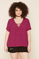 Forever 21 FOREVER 21+ Plus Size Chiffon Lace-Up Top