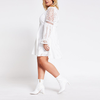 River Island Plus white borderie lace mini shirt dress