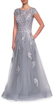 Thumbnail for your product : La Femme Floral Lace & Tulle Ball Gown