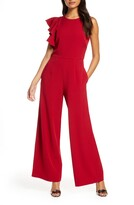 Julia Jordan Hunter Crepe Ruffle Shoulder Jumpsuit